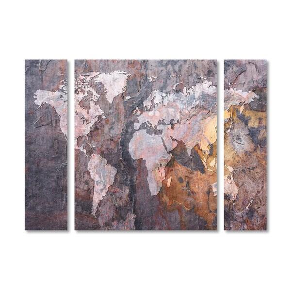 Michael Tompsett 'World Map Rock' Multi Panel Art Set