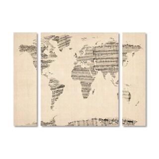 Michael Tompsett 'Old Sheet Music World Map' Multi Panel Art Set