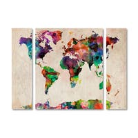 Michael Tompsett 'Watercolor World Map' Multi Panel Art Set
