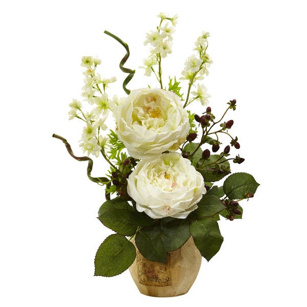 Large Rose and Dancing Daisy in Wooden Pot (White)