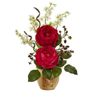 Large Rose and Dancing Daisy in Wooden Pot (Red)
