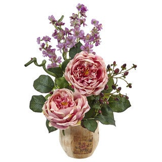 Large Rose and Dancing Daisy in Wooden Pot (Pink)