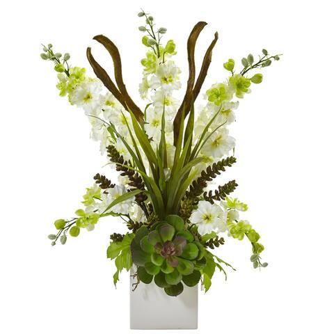 Delphinium and Succulent Arrangement (White)