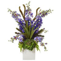 Delphinium and Succulent Arrangement (Purple)