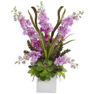 Delphinium and Succulent Arrangement (Lavender)