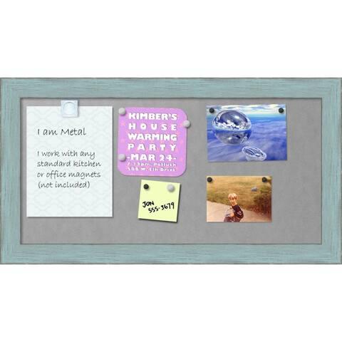 Framed Magnetic Board, Sky Blue Rustic