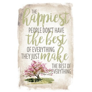 New Horizon 'The Happiest People' 6-inch x 9-inch Wood Plaque with Easel
