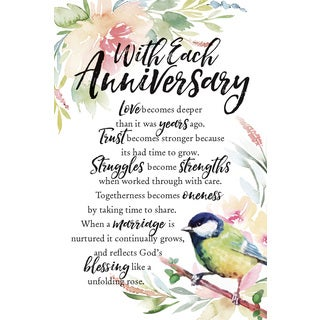 Woodland Grace Series 'With Each Anniversary' Wood 6-inch x 9-inch Plaque with Easel
