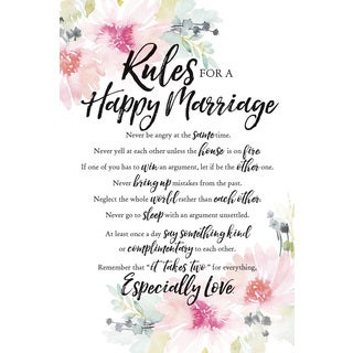 Woodland Grace Series Rules For A Happy Marriage Wood Plaque