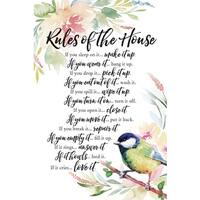 Woodland Grace Series 'Rules Of The House' Wood 6-inch x 9-inch Plaque with Easel