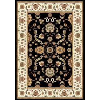 Istanbul Collection Black/Cream Polypropylene Turkish Area Rug (2'6 x 7'2)