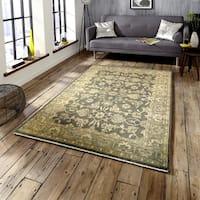LR Home Kareena Charcoal Brown Wool Dauphin Area Rug ( 12' x 15' ) - 12' x 15'