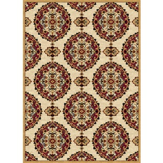 Ethnic Collection Beige/Burgundy Polypropylene Turkish Area Rug (7'10 x 10'6)
