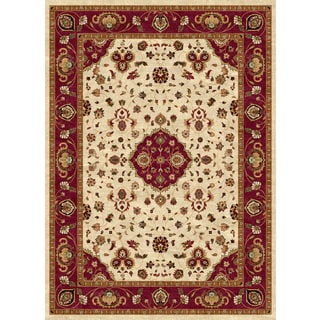Ethnic Collection Cream/Burgundy Polypropylene Turkish Area Rug (7'10 x 10'6)