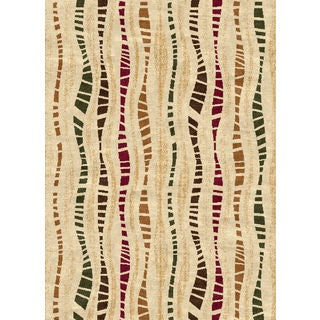 Ethnic Collection Off-white Polypropylene Striped Turkish Area Rug (7'10 x 10'6')