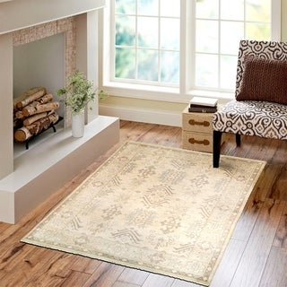 L and R Home Kareena Beige/Silver Wool Indoor Area Rug (9' x 12')