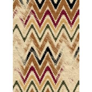 Ethnic Collection Zigzag Multicolor Polypropylene Turkish Area Rug (5'3 x 7'3)