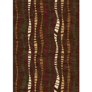 Ethnic Collection Stripe Brown Turkish Area Rug (2'6 x 7'2)
