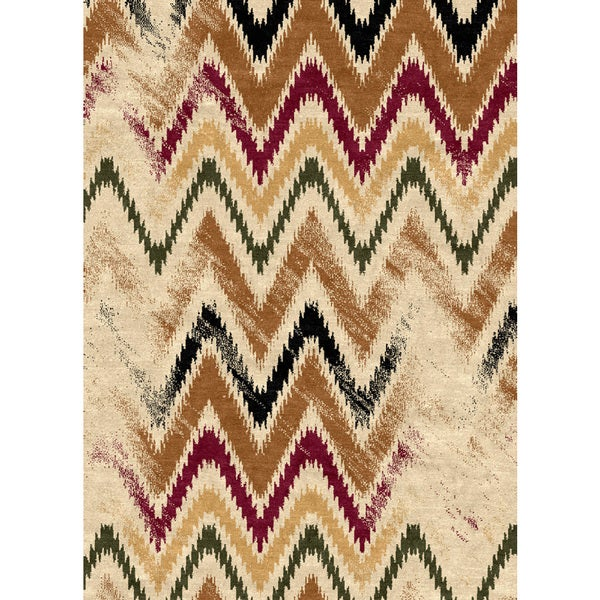 Ethnic Collection Multicolored Zigzag Polypropylene Turkish Area Rug (7'10 x 10'6)