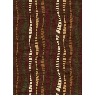 Ethnic Collection Stripe Brown Polypropylene Turkish Area Rug (7'10 X 10'6)