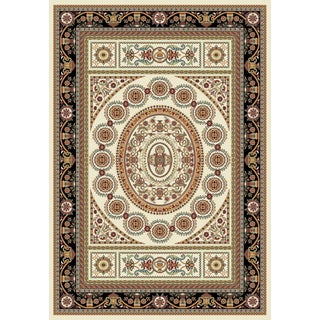 Istanbul Collection Cream/ Black Turkish Area Rug (2'6 x 7'2)