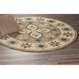 L and R Home Dazzle Taupe Wool Round Indoor Area Rug (4' x 4')