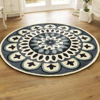 L and R Home Dazzle Navy Wool Round Indoor Round Rug (4' x 4')