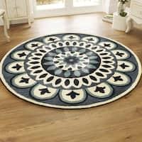 LR Home Dazzle Navy Wool Round Indoor Round Rug (4' x 4') - 4' x 4'