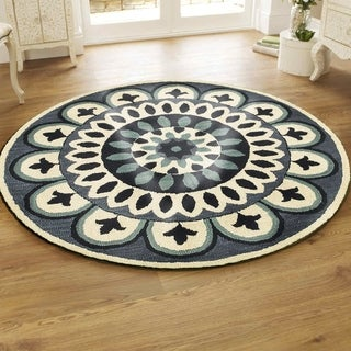 LR Home Dazzle Navy Wool Round Indoor Round Rug - 4' x 4'