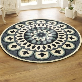L and R Home Dazzle Blue Wool Round Indoor Area Rug (6' x 6')