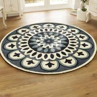 LR Home Dazzle Blue Wool Round Indoor Area Rug (6' x 6') - 6' x 6'