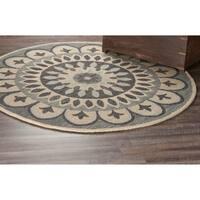 LR Home Dazzle Grey Wool Round Indoor Area Rug (4' x 4') - 4' x 4'