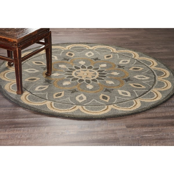 LR Home Hand Tufted Dazzle Mesmerizing Gray Wool Rug - 4' Round