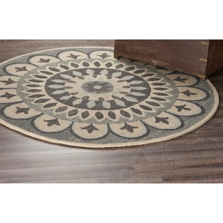 L and R Home Dazzle Grey Wool Round Indoor Area Rug (6' x 6')