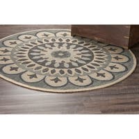 LR Home Dazzle Grey Wool Round Indoor Area Rug (6' x 6') - 6' x 6'