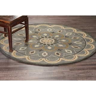 L and R Home Dazzle Grey/Blue/Tan Wool Round Area Rug (6' x 6')