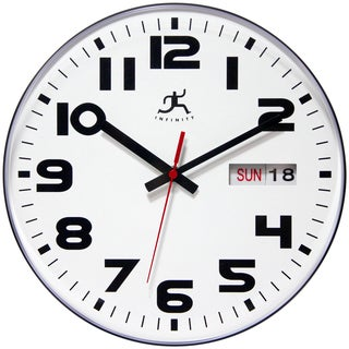 Infinity Instruments Black and White Aluminum, Plastic, and Resin 11-inch Day/Date Round Wall Clock