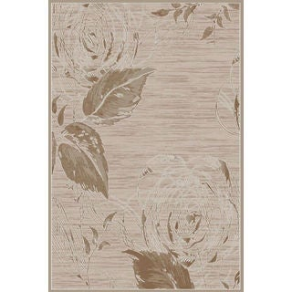 Luxury Collection Tan Polypropylene Turkish Leaf Area Rug (2'6x7'2)