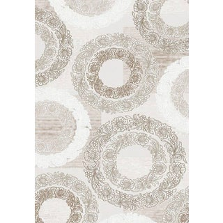 Luxury Collection Wreath Taupe Polypropylene Turkish Area Rug (7'10 x 10'6)
