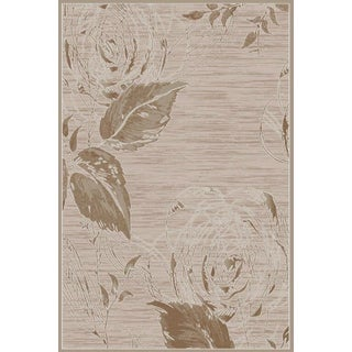 Luxury Collection Tan Leaf Turkish Area Rug (7'10x10'6')