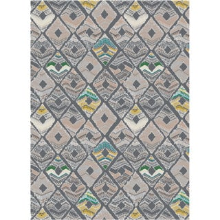 Melody Collection Grey Polypropylene Turkish Area Rug (2'6 x 7'2)