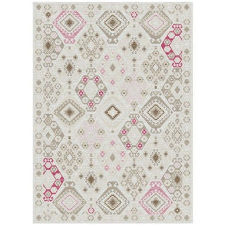 Melody Collection Taupe-Pink Polypropylene Turkish Area Rug (2'6 x 7'2)