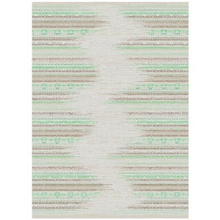 Melody Collection Taupe/Sage Polypropylene Turkish Area Rug (2'6 x 7'2)
