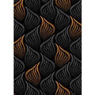 Tripoli Collection Grey-orange Turkish Area Rug (5'3 x 7'0)