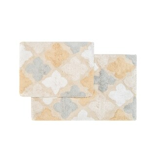 Cotton Moroccan Tile Bath Rug Set with Step-out Mat