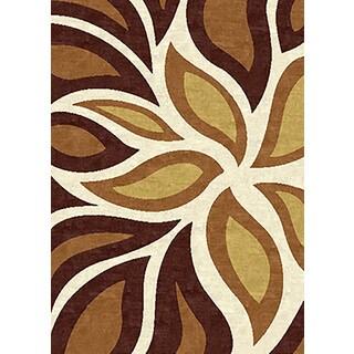 Tripoli Collection Cream Polypropylene Leaf Turkish Area Rug (5'3 x 7')