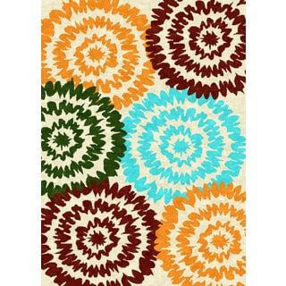 Tripoli Collection Cream/Multicolor Polypropylene Turkish Area Rug (5'3 x 7'0)