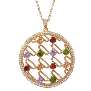 Luxiro Rose Gold Finish Sterling Silver Multi-color Cubic Zirconia 35-mm Circle Pendant Necklace