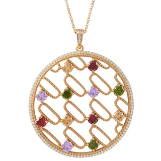 Luxiro Rose Gold Finish Sterling Silver Multi-color Cubic Zirconia 50-mm Circle Pendant Necklace