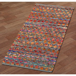 Complex Grey-Green Hand Woven Rug (2'x5')